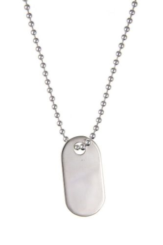 "Dog Tag Pendant Solid Sterling Silver 20"" Chain Hallmarked"
